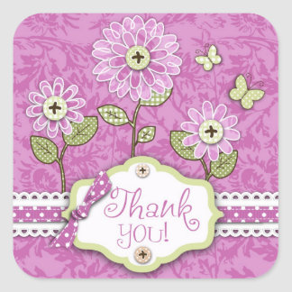 La organza florece al pegatina cuadrado rosado de