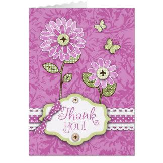 La organza florece rosa de la tarjeta de B TY