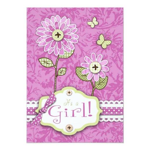 """La organza florece rosa de la tarjeta de la invitación 5"""" x 7"""""""