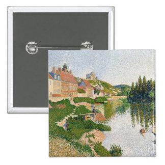 La orilla del río, Pequena-Andely, 1886 Pin Cuadrado