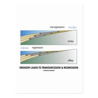 La orogenia lleva a la transgresión y a la postales