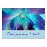 La orquídea azul Bridemaid Notecard Tarjeta Pequeña