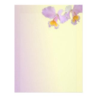 La orquídea florece el papel con membrete hermoso, membrete a diseño
