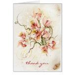 La orquídea rosada le agradece cardar tarjeton
