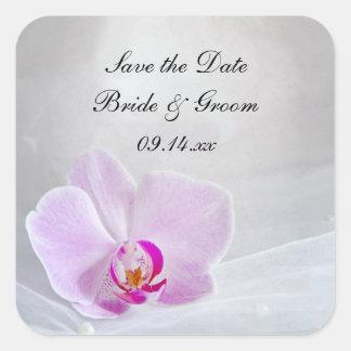 La orquídea rosada y el boda del velo ahorran al pegatina cuadrada