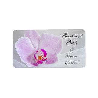 La orquídea rosada y el boda del velo le agradecen etiqueta de dirección