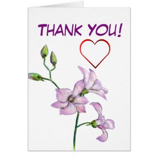 La orquídea rosada y el corazón rojo le agradecen tarjeta de felicitación