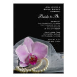 La orquídea rosada y la ducha nupcial de las perla comunicados personalizados