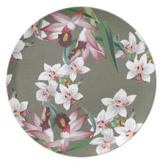 La orquídea tropical florece la placa floral de la plato para fiesta