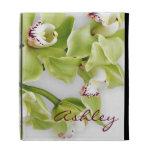 La orquídea verde del Cymbidium personalizó la caj