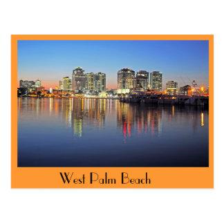 La oscuridad baja sobre West Palm Beach la Florida Tarjeta Postal