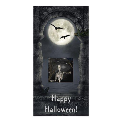 La oscuridad pone la plantilla de la tarjeta de la tarjeta con foto personalizada