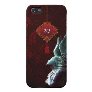 La oscuridad soña el monograma del ángel del gótic iPhone 5 protector