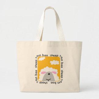 La oveja dice las camisetas y los regalos del Baa Bolsa Tela Grande