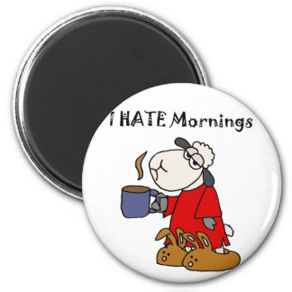 La oveja divertida odia el dibujo animado de las imán redondo 5 cm