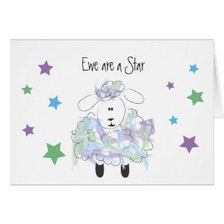 La oveja es una estrella - enhorabuena tarjeta pequeña