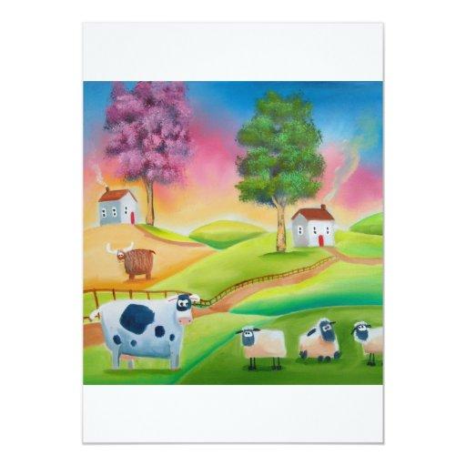 """La oveja linda acobarda el arte popular G de Invitación 5"""" X 7"""""""