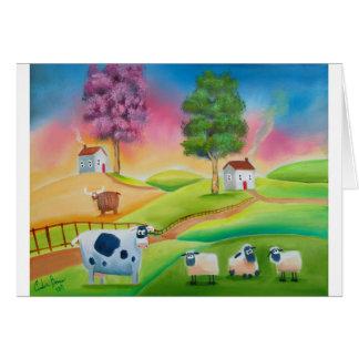 La oveja linda acobarda el arte popular G de pintu Tarjeta