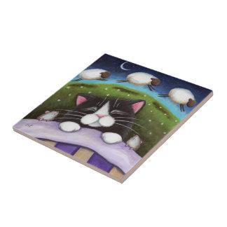 La oveja soña el gato y ratones el dormir del | azulejo cuadrado pequeño