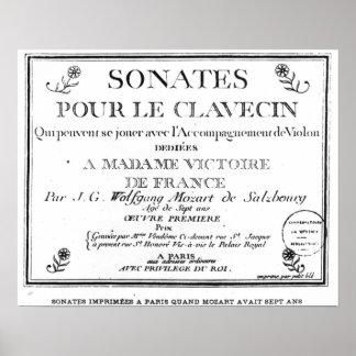La página de título para 'Sonates vierte a le clav Póster