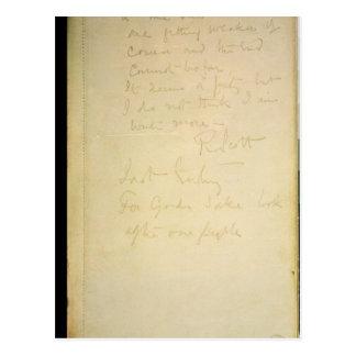 La página pasada de su diario, la Antártida Tarjeta Postal