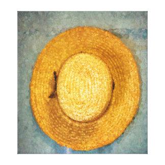 La paja del hombre que cultiva el gorra impresión en tela
