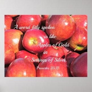 La palabra del 25:11 A de los proverbios, hablada Póster