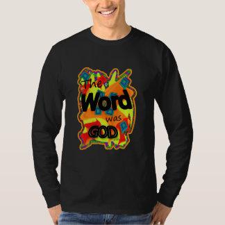 La palabra era dios para las camisetas negras playera