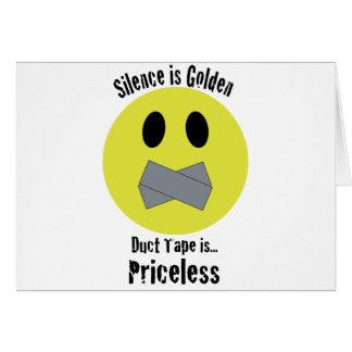 La palabra es plata y el silencio oro la cinta ais tarjeta de felicitación