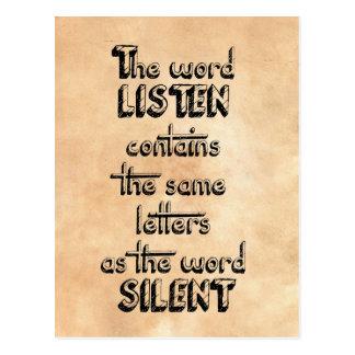 La palabra ESCUCHA contiene las mismas letras que Postales