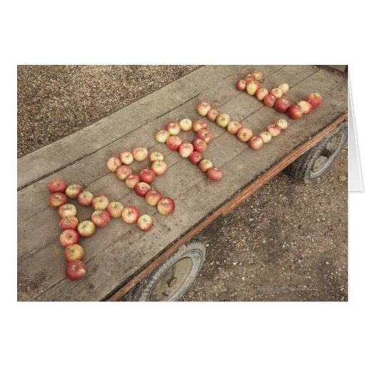 """La palabra """"manzana"""" en manzanas tarjeta de felicitación"""