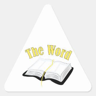 La palabra pegatina triangular