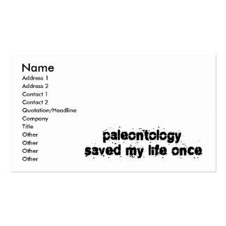 La paleontología ahorró mi vida una vez tarjeta de negocio