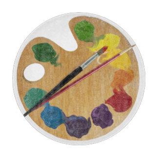 La paleta artística cepilla la rueda de color tablas para cortar
