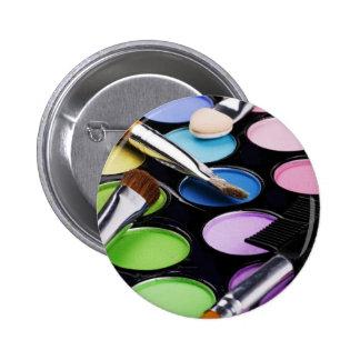 La paleta del arco iris del maquillaje cepilla la  pin redondo de 2 pulgadas
