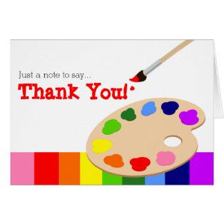 La paleta del artista del arco iris le agradece tarjeta pequeña