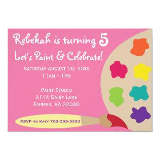 """La paleta del fiesta del arte invita - a rosa invitación 5"""" x 7"""""""