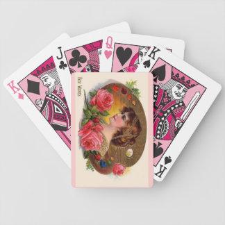 La paleta y los rosas del pintor del vintage barajas de cartas