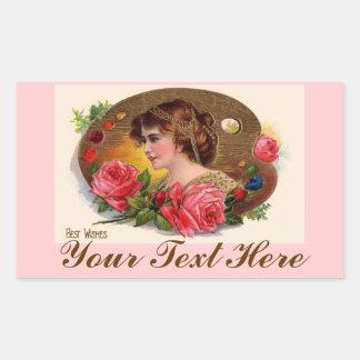 La paleta y los rosas del pintor del vintage pegatina rectangular