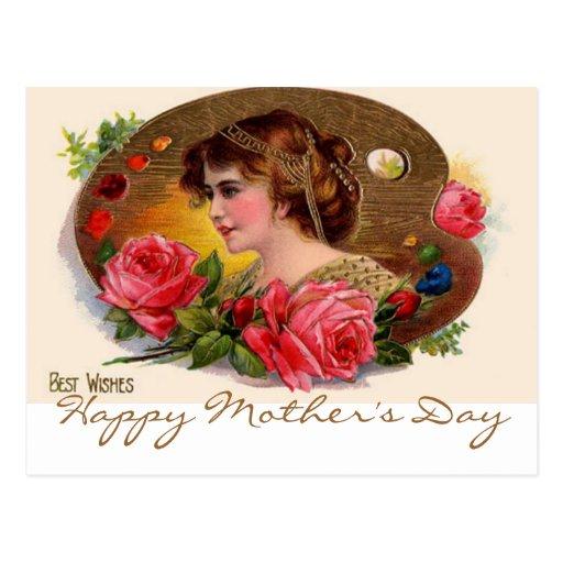 La paleta y los rosas del pintor del vintage tarjetas postales