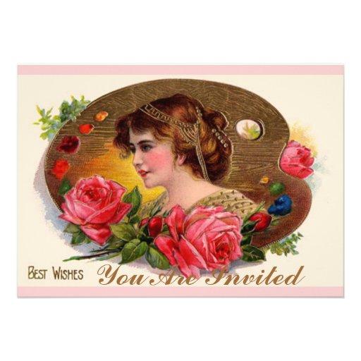 La paleta y los rosas del pintor invitacion personal
