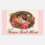 La paleta y los rosas del pintor pegatina rectangular