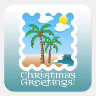 La palma enciende navidad de la playa pegatina cuadrada