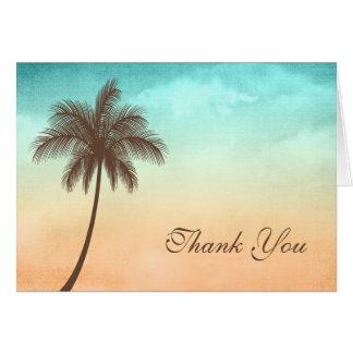 La palmera tropical de la playa le agradece tarjeta pequeña