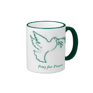 La paloma 1 de la paz ruega para la paz tazas