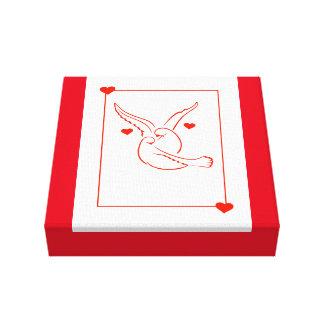 La paloma y los corazones envolvieron la lona impresión en lona estirada
