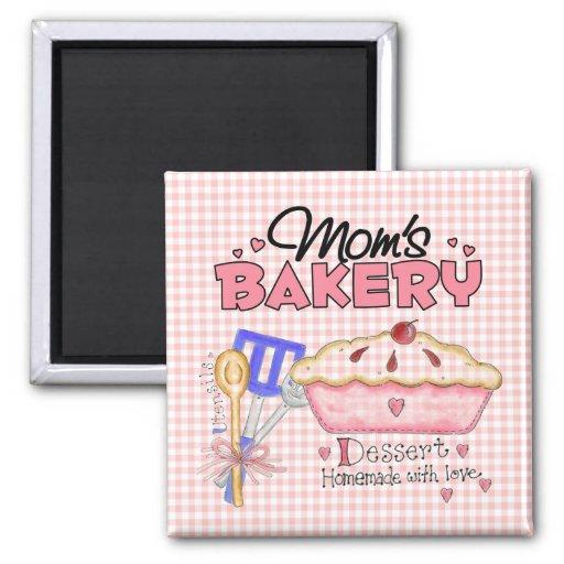 La panadería de la mamá imán cuadrado