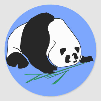 La panda come el bambú en etiqueta tropical del