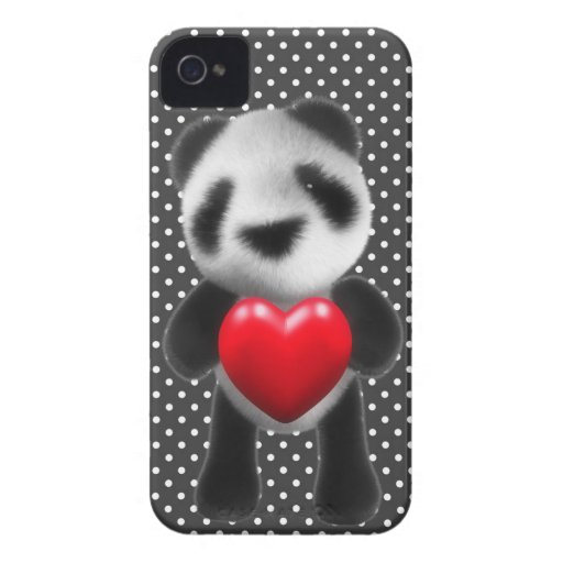 la panda del bebé 3d abraza un corazón (editable) carcasa para iPhone 4 de Case-Mate