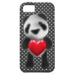la panda del bebé 3d abraza un corazón (editable) iPhone 5 carcasas